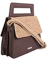 Veuza Athens Premium Jacquard And Faux Leather Choco Brown Women's Handbag