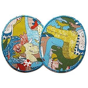 Set 2 Knieflicken Dinosaurier, Dino Flicken zum aufbügeln für Kinder