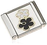 Nomination Damen-Charm Composable BIG Doppelte Blume 18K Gold Edelstahl teilvergoldet Emaille - 032245/02
