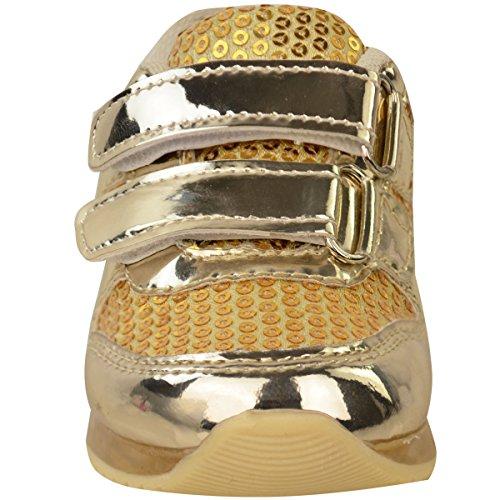 Gr枚脽e Riemchen Turnschuhe LED Sneakers Kleinkind Metallic Gold schuhe Beleuchtung kinder Babys M盲dchen Neue qxwHUYvpq