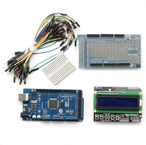 SainSmart C26 Kit with Mega2560 + LCD Keypad Shield + Prototype Shield V3 + Mini Breadboard + Jump Wires for Arduino UNO R3 MEGA Mega2560 Nano DUE Duemilanove AVR ATMEL Robot XBee ZigBee