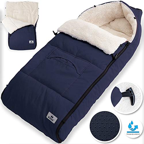KIDIZ® Babyfußsack Baby Fußsack Winterfußsack Babyschale mit Reißverschluss Kuschelsack Babydecke Kinderwagen waschbar verschließbarer Kopfteil,Tasche, passend für alle Kinderwagen, Farbe:Blau