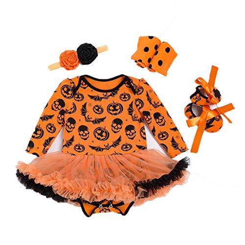 OENKIKIN Baby Mädchen Kostüm Neugeborenen Kleid Strampler + Tutu Rock + Stirnband + Schuhe 4 Stück Outfits Set für Kleinkind Kinder Beliebt Halloween-Kostüm kürbis (Kleinkinder Für Halloween-kostüme Beliebte)