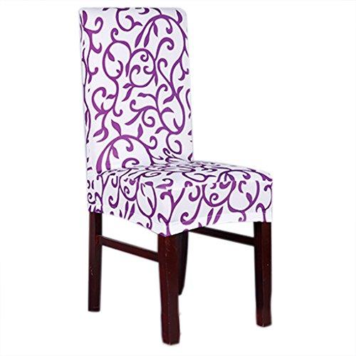 Lixinsunbu stretch amovible court Housse de protection pour chaise de salle à manger Assise Slipcover, Tissu, violet, Taille M