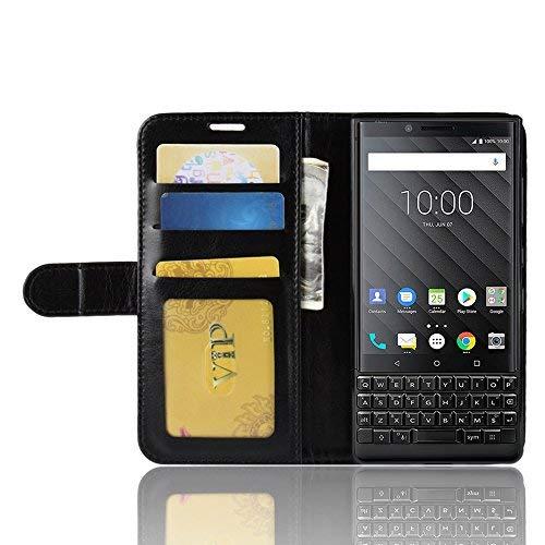 BlackBerry Key 2 Brieftasche Flip Hülle - 2 in 1 Flip Handysocken Schutzhülle Litschi-Textur Standfunktion Tasche und - Beschützer Smartphone (Schwarz)