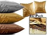 Doppelpack Paillettenkissen - Gold + Silber + Kupfer + ca. 45 x 45 cm – exklusives Wendekissen mit Füllung, gold