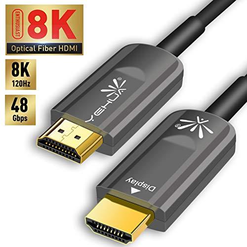 YEHUA (New) HDMI Glasfaser Kabel 10m HDMI Kabel 8K Ultra HD, HDMI zu HDMI High Speed - 48 Gbit/s - HDMI 2.1 mit Ethernet Unterstützung HDMI 2.1,2.0a/b,1.4a,UHD 8K@120Hz 4320P,HDR,3D,ARC,HDCP 2.2 - Der Nächsten Generation Hdmi
