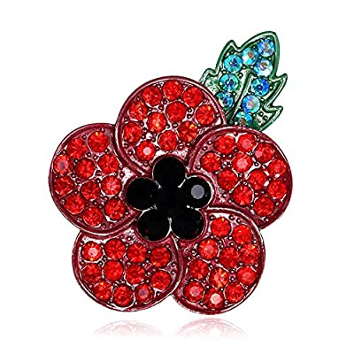 Littleduckling Red Poppy Brooches Lapel Pin Badges Diamante Crystal Banquet Red Poppy Flower Remembrance Day Gift Black Plated Green Leave