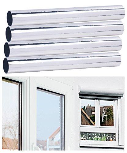 infactory UV Fensterfolie: 4er-Set Selbsthaftende Isolier-Spiegelfolie, Sicht-/UV-Schutz, 40 cm (Sonnenschutzfolien)
