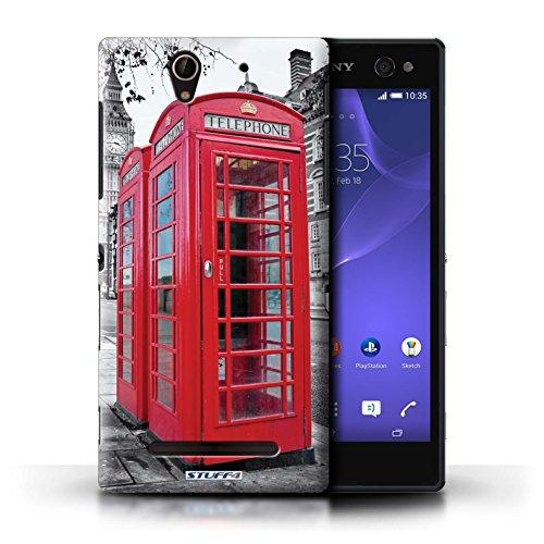 Kobalt® Imprimé Etui / Coque pour Sony Xperia C3 / Tower Bridge conception / Série Londres Angleterre Red Phone Box