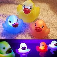 SwirlColor Confezione da 4 che cambia colore impermeabile Anatra bagno lampeggiante giocattolo del bambino LED (Notte Bagno Luce Decor)