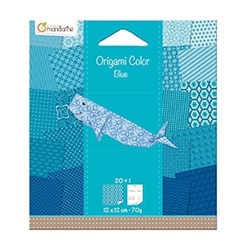 Avenue Mandarine 42685O Origami color Papier (quadratisch, 12 x 12 cm, mit Faltanleitung, 20 verschiedenen Blätter) blau