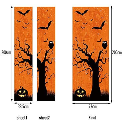 Heetey Halloween Dekoration Außenhandel Neue Halloween kreative lustige Tür Aufkleber Glas Fenster Aufkleber Wandtattoo Wohnkultur Fensterfolie Glasaufkleber Wand Wohnzimmer Halloween - Gefiederte Röcke Kostüm