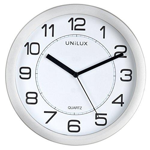 UNILUX 400094404 Attraction Wanduhr magnetisch 22 cm geräuchlos Nicht-tickende stille leise Uhr Magnet-Uhr mit modernem Ziffernblatt Magnetwanduhr in grau silber