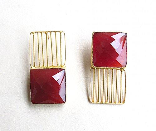 Deep Red Crystal MisMatched Paar Ohrringe / Anweisung Ohrstecker / Modeschmuck für Frauen