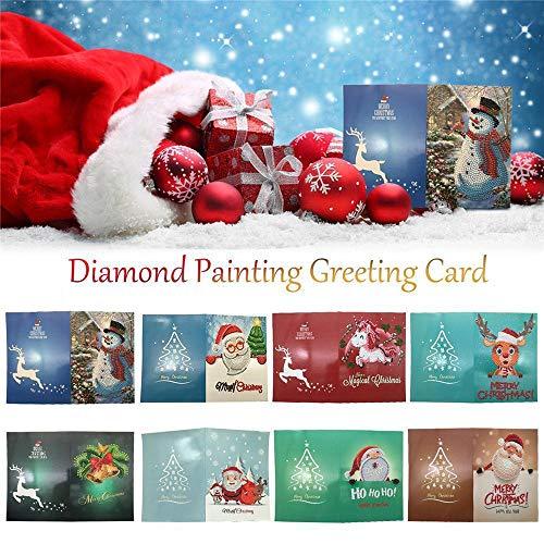 Hukz Weihnachtsgrußkarte Cartoon DIY 5D Diamant Malerei Geschenk handgemachte Festival(18 * 13cm) (Farbe:8PC)