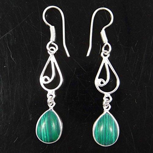 Banithani Plaqué Malachite Pierre Argent Dangle Boucle Cadeau De Bijoux En Inde Pour Les Femmes vert-9