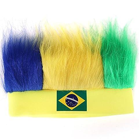 TRIXES Brazil Flag 2016 Rio Olympic Flag Novelty Wig Headband Hat