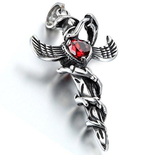 Oidea Herren Halskette mit Anhänger, Edelstahl Gotik Schlangen Flügel Kreuz Dolch Schwert...