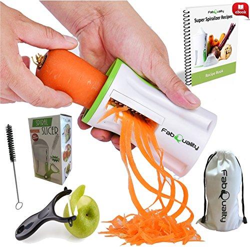 FabQuality Vendedor Premium Spiralizer Vegetal Veggetti Espiral Slicer COMPLETO BUNDLE x4 - Spiraliser Libro, Cortador de Vegetales, Libro espiral, Cepillo, Peeler, Verde