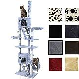Miganeo Kratzbaum für Katzen KF-76, 237x124x39cm Katzenpfoten deckenhoch ausziehbar, (höhenverstellbar mit Deckenspanner) 217-237 cm (silbergrau)