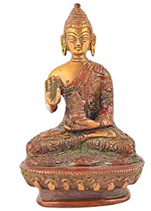 Rajasthani Khaadi Haat Bronze Lord Buddha Statue (6.5 cm x 8.5 cm x 13 cm, Brown)