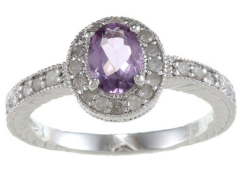 1.50ct Genuine diamante ametista anello in stile vintage, in argento Sterling, argento, 57 (18.1), cod. R41XCAM-sz8