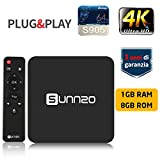 TV BOX SUNNZO G8 Android 7.1 4K Mini/Dispositivo streaming per TV con Amlogic S905 64 Bit 1GB+8GB eMMC, Wifi, H.265 (1+8GB)