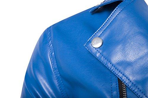 Brinny Veste en faux cuir Biker Blouson en cuir Slim Fit Hommes pour automne hiver jacket Bleu