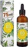 Vitamin D3 75ml - Der VERGLEICHSSIEGER 2019* - 1000 I.E. pro Tropfen - 2.550 Tropfen Hochdosiert Flüssig in MCT-Öl aus Kokos - Hohe Stabilität, Laborgeprüft hergestellt in Deutschland