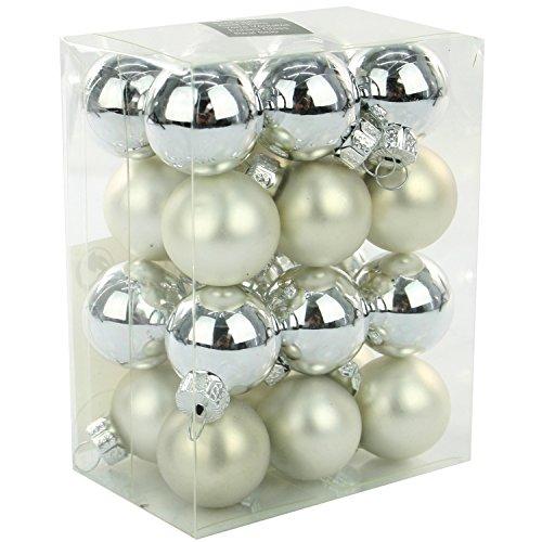 24 Weihnachtskugeln Glas 25 mm Glaskugeln Christbaumkugeln Weihnachten Kugeln Farbe : silber (matt +...