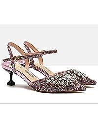 Ren Chang Jia Shi Pin Firm Zapatos para mujer Sandalias de vestir Cristal Lentejuelas Vaciar Sandalias Femeninas...