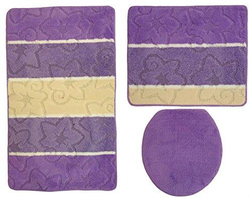 Orion Badgarnitur 3 tlg. Set 50x80 cm Mehrfarbig Gestreift, WC Vorleger Ohne Ausschnitt für Hänge-WC (Lila Flieder Creme)