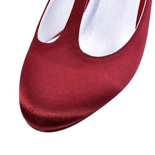 ElegantPark Femmes Bout Fermé Bloc Talon T-Strap Chaussures de Mariage Robe Soirée Rouge sombre