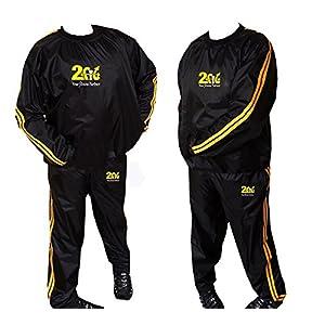 Heavy Duty 2Fit Gold Schweiß Sauna Anzug Bewegung Gym Fitness Joggen Track Suit Running Sweat Suit Gewichtsverlust Sauna Slimming Anzug reißfestes M X L