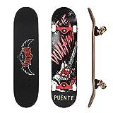 NACATIN Skateboard Komplettboard für Kinder Jungendliche und Erwachsene mit ABEC-9 Kugellager 92A Anti-Rutsch-Glatt und Mute Rad Funboard für Anfänger(608)