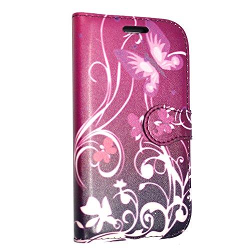 Kamal Star® iPhone SE Tasche Schwarz PU Leder Multi-Functional Wallet Stand Case für Apple iPhone SE (2016 Version der 4.0 Zoll Modell) - SCHUTZHÜLLE mit integrierte BRIEFTASCHE + STAND mit Magnetisch Butterfly Purple Book