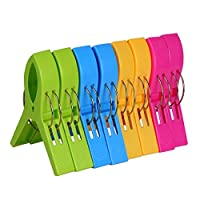 8 Pack Beach Towel Clips in Bright Colors - Jumbo Size Beach Chair Towel Clips- Keep Your Towel from Blowing Away,Clothes Lines