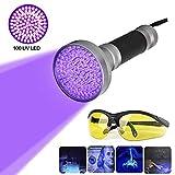 100 LEDs UV Schwarzlicht Taschenlampe mit UV-Schutzbrille,Ultraviolett Taschenlampe LED Handlampe Professional Heimtierurindetektoren, für eingetrocknete Urin- Flecken der Hunde, Katzen und Nagetiere auf Teppichen,Vorhänge (Alulegierung)