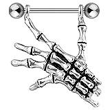 PunkJewelry Brustpiercing Skeletthand 316L Chirurgenstahl
