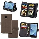 KANTAS 9 Karten Brieftasche Flip Case für Samsung Galaxy J3 2017 Grau PU Leder Handyhülle Case Matt Oberfläche Taschenhülle Wallet Ledertasche mit Magnetverschluss Standfunktion Geldbeutel Schutzhülle für Samsung Galaxy J330