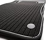 kh Teile Fußmatten/Rips Automatten Premium Qualität, Ripsmatten 4-teilig, schwarz Nubukleder Einfassung mit weißem Band