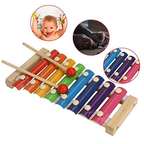 YJZQ Holz Xylophon für Kinder Baby Holzspielzeug Musikinstrument mit 8 Tönen mit Holzständer und Holzhämmer Baby Schlaginstrument Musikinstrument ab 1 Jahr