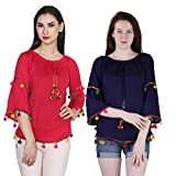 Jollify Women's Blue and Red Rayon Embroidered Top Combo(pak of 2)