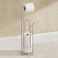 Top Home Solutions® Wire Frame Chrome Free Standing Bathroom Toilet Paper Roll Holder Dispenser 3 Roll Storage