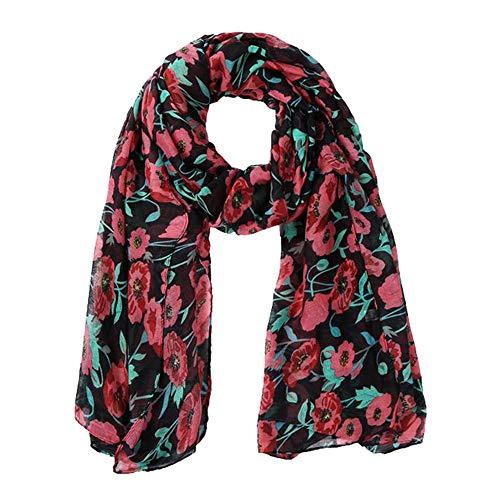 Rovinci Mode Adulte Beau Femmes 1 PC Pêche Fleur Impression Embroidered Longue Doux Emballage Écharpe Dames Châle Écharpes (Noir)