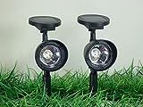 2 x LED Solarleuchten Solarstrahler Gartenstrahler Solar Lampen Solarbeleuchtung