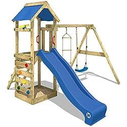 Wickey FreeFlyer - Torre de Juego Infantil con Tobogán, Columpio, Caja de Arena, Pared de Escalada, Lona del Techo Azul + Tobogán Azul