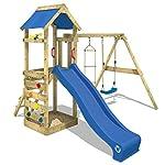 WICKEY Spielturm MultiFlyer Kletterturm Spielplatz Garten mit Schaukel, Rutsche und Kletterwand 6