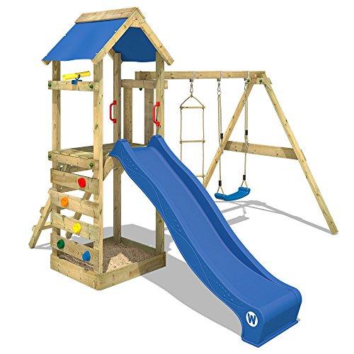 WICKEY Spielturm FreeFlyer Kletterturm mit Rutsche Schaukel Sandkasten Kletterwand Sandkasten 4